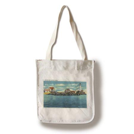 Boston, Massachusetts - View of Boston Harbor and Boston Lighthouse (100% Cotton Tote Bag - Reusable)