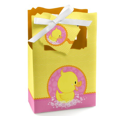 Pink Ducky Duck - Girl Baby Shower or Birthday Party Favor Boxes - Set of 12