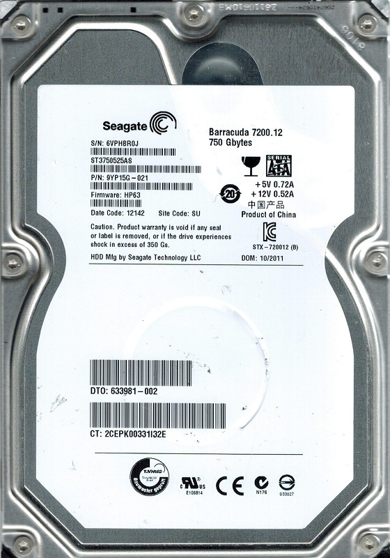 Seagate ST3750525AS P N: 9YP15G-021 F W: HP63 750GB SU by Seagate