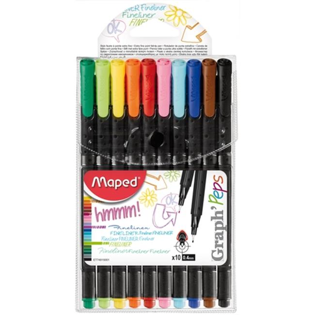 Maped Helix Usa 749150 0.4 mm. Graph Peps Felt Tipped Pens - Assorted