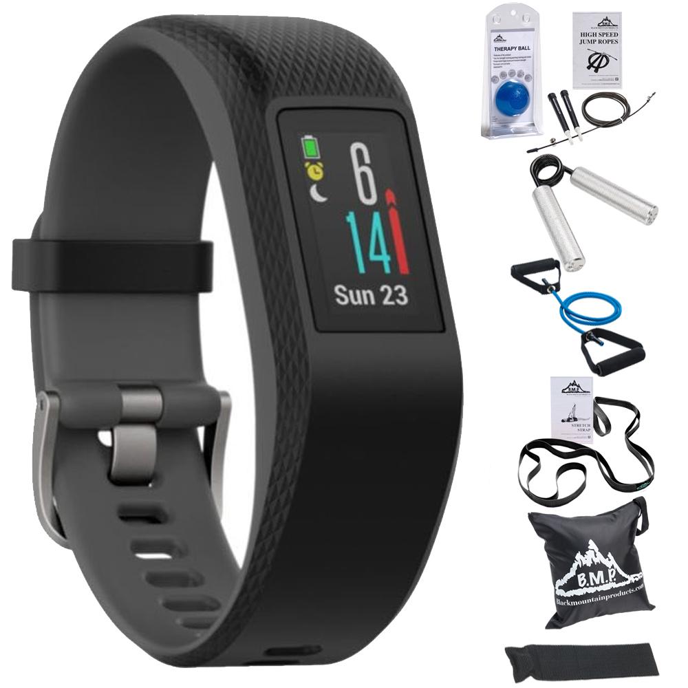 Garmin Vivosport Smart Activity Tracker + Built-In GPS (Slate, S/M) 010-01789-10 + 7-Piece Fitness Kit