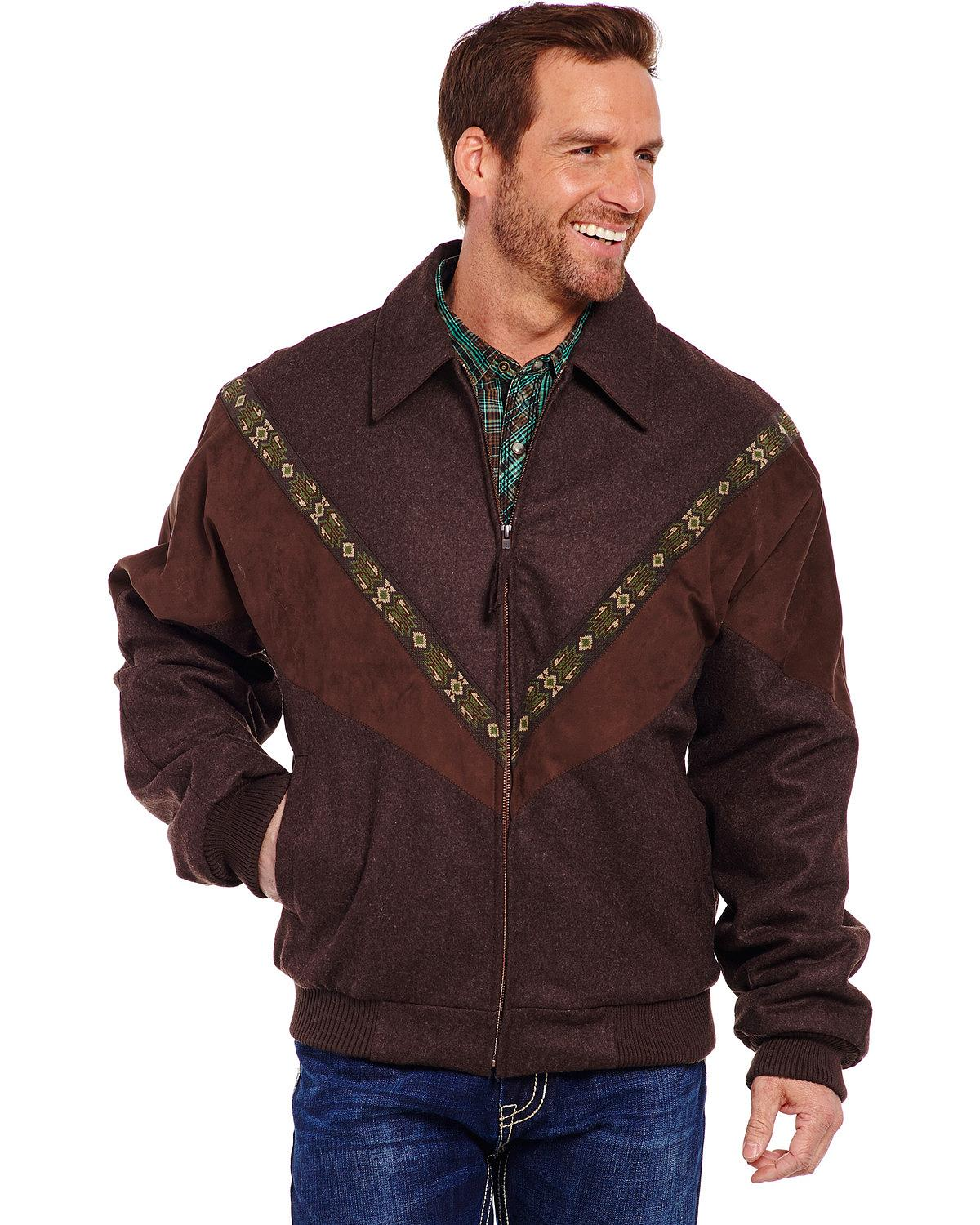 Cripple Creek Men's Aztec Trim Wool Jacket Cr39866-34 by Mens Wool Coats