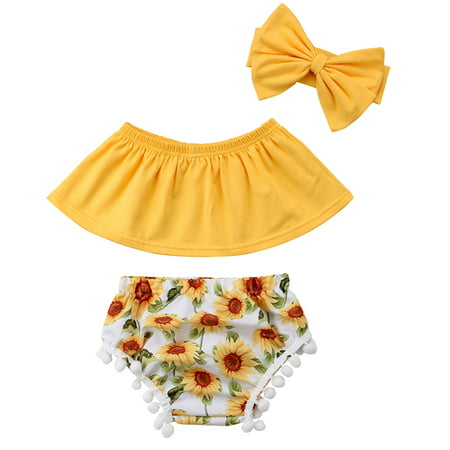Baby Girls Off Shoulder Sleeveless Top Sunflower Floral Print Shorts Headband Outfits Set
