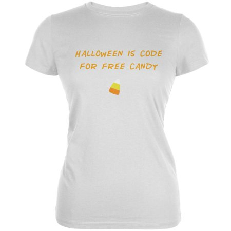 Halloween is Code For Free Candy White Juniors Soft - Promo Code For Spirit Halloween