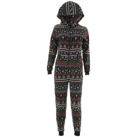 Fairy Pajamas (Pillow Talk Women's Christmas Fair Isle Hooded One-Piece Plush)