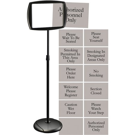 MasterVision, BVCSIG05050505, Interchangeable Floor Pedestal Sign, 1 Each, Black