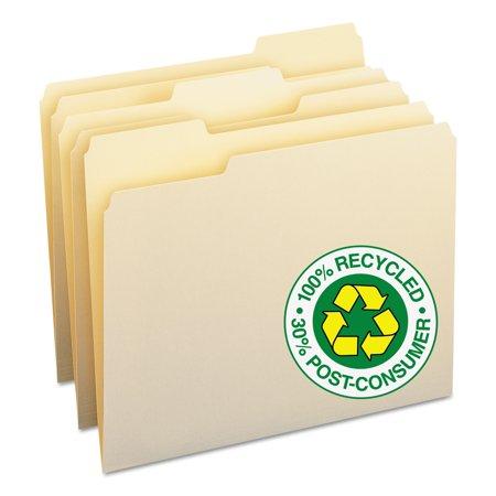 (Smead 100% Recycled File Folders, 1/3-Cut Tab, Letter Size, Manila, 100 Per Box (10339))