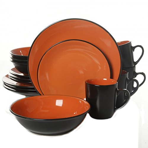 Gibson Vivendi 2 Tone 16pc Dinnerware Set Black Orange