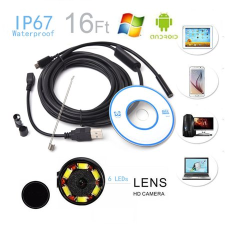 16.4Ft Waterproof USB Endoscope Lens Inspection HD Camera with 6 LED Lights Borescope for Android Smartphone,Table (Best Just Inspection Cameras)