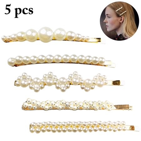 5PCS Hair Clips, Aniwon Artificial Pearl Lovely Assorted Snap Hair Pin Barrettes Bows Clios Accessories for Women Girls