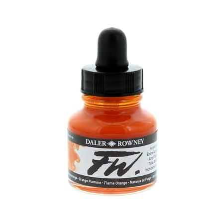 Flame Series Acrylic (Daler-Rowney FW Acrylic Artists Ink, 1 oz. Dropper-Top Bottle, Flame Orange )