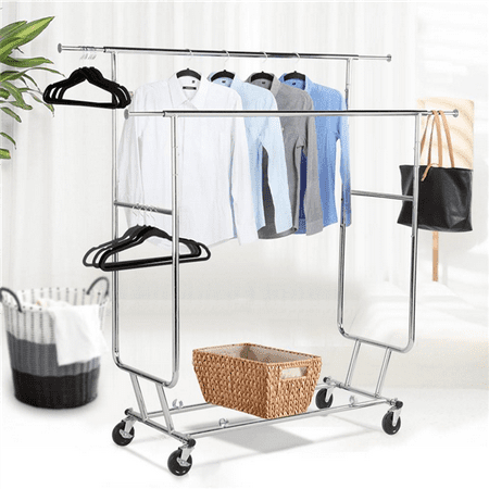 Double Hanging - Yaheetech Commercial Grade Garment Rack Rolling Collapsible Rack Hanger Holder Heavy Duty Double Rail Clothes Rack Extensible Clothes Hanging Rack 2 Omni-directional casters with brake,250lb Capacity