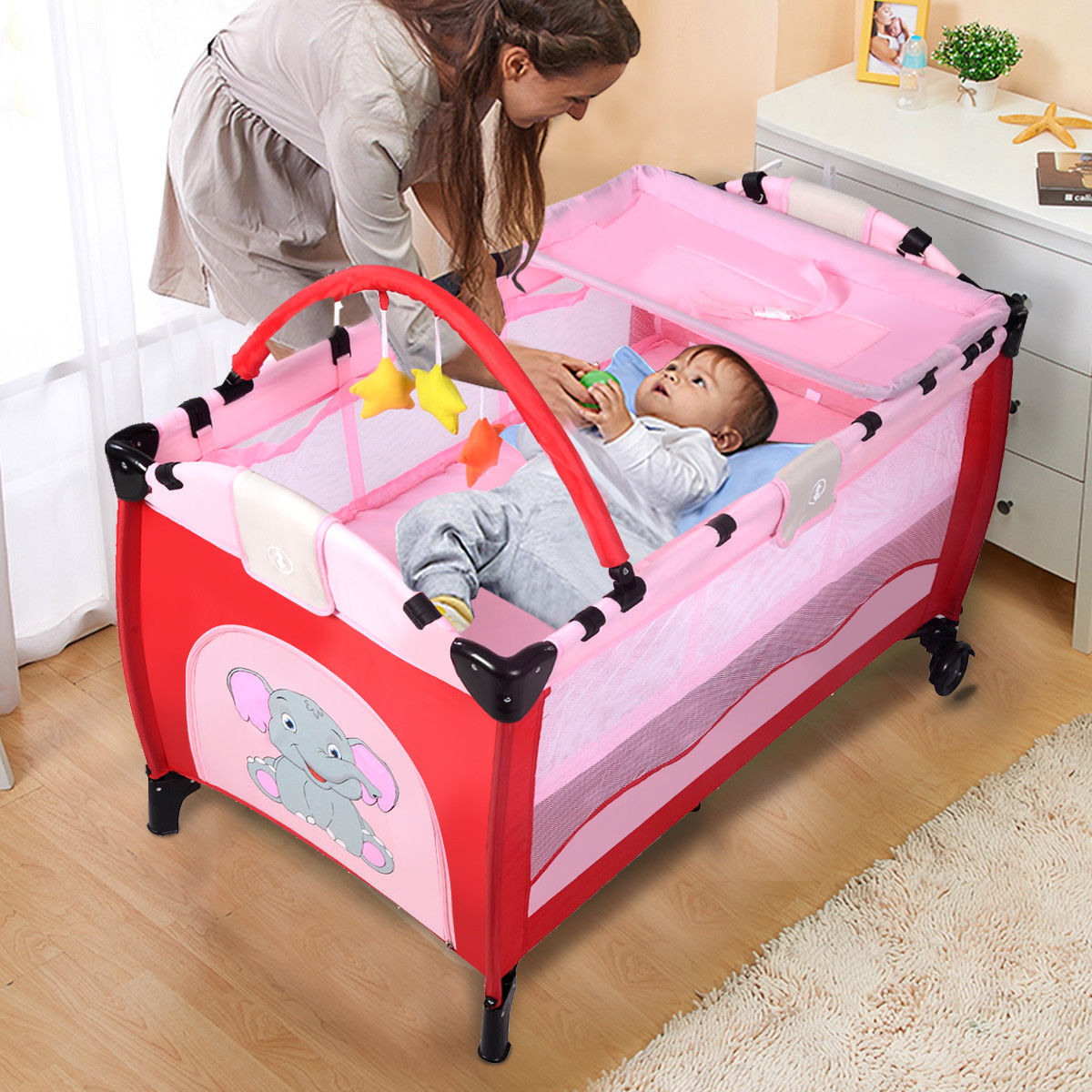 Goplus Pink Baby Crib Playpen Playard Pack Travel Infant Bassinet Bed Foldable Walmart Com Walmart Com