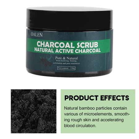HURRISE Natural Bamboo Charcoal Exfoliating Scrub Salt Body Face Dead Skin Remover Whitening Deep Clean, Dead Skin Remover, Body Exfoliation