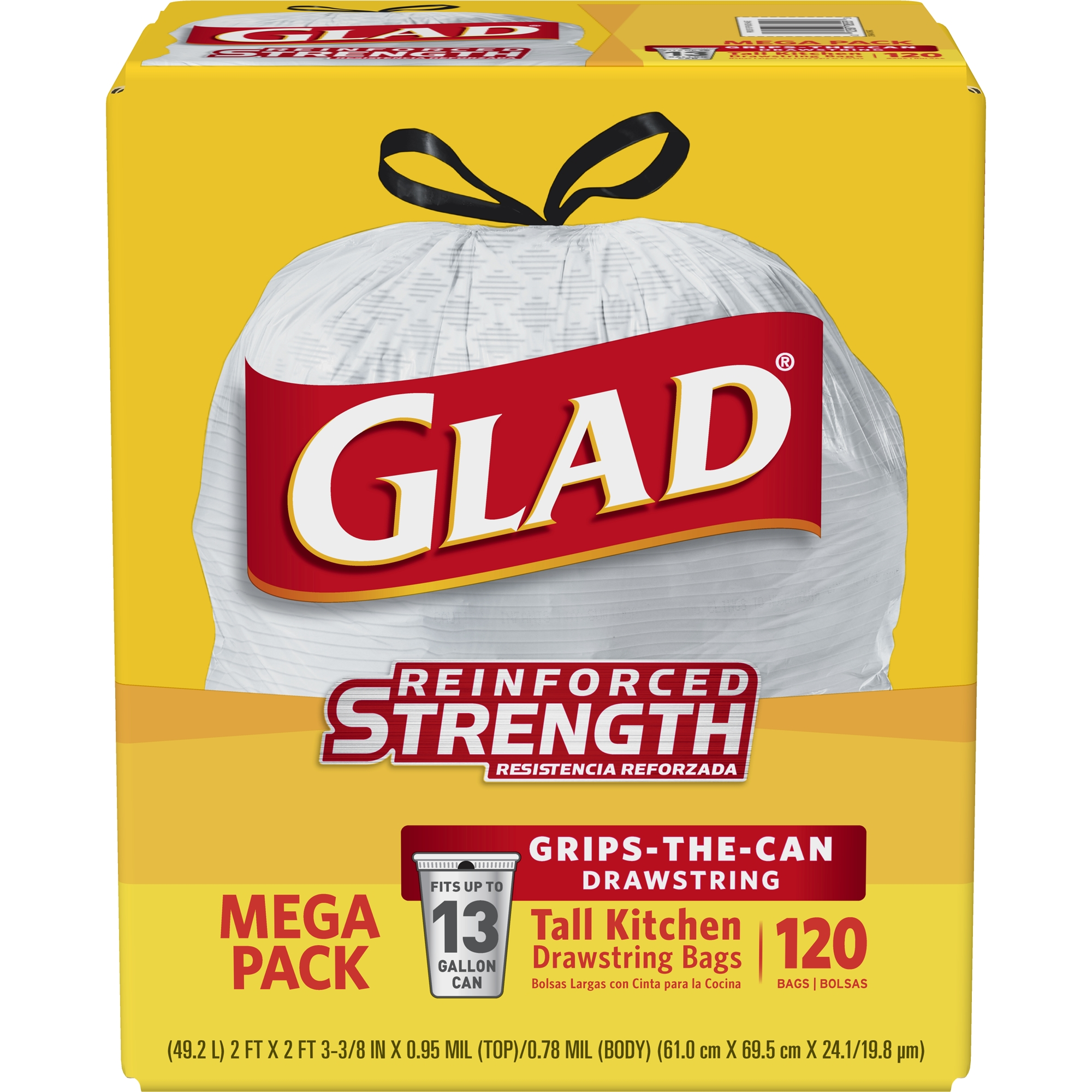 Glad Tall Kitchen Drawstring Trash Bags - 13 gal - 120 ct