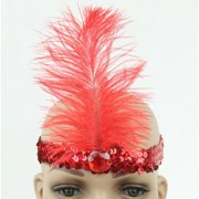1920s Flapper Headpiece Carnival Feather Headband Gatsby Accessory- 2 Pack