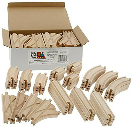 52 Piece Wooden Train Track Pack - 100% Compatible with All Major - Pink Train Track