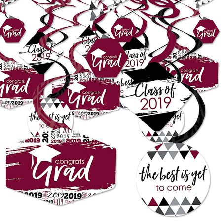 Maroon Grad - Best is Yet to Come - 2019 Burgundy Graduation Party Hanging Decor - Party Decoration Swirls - Set of