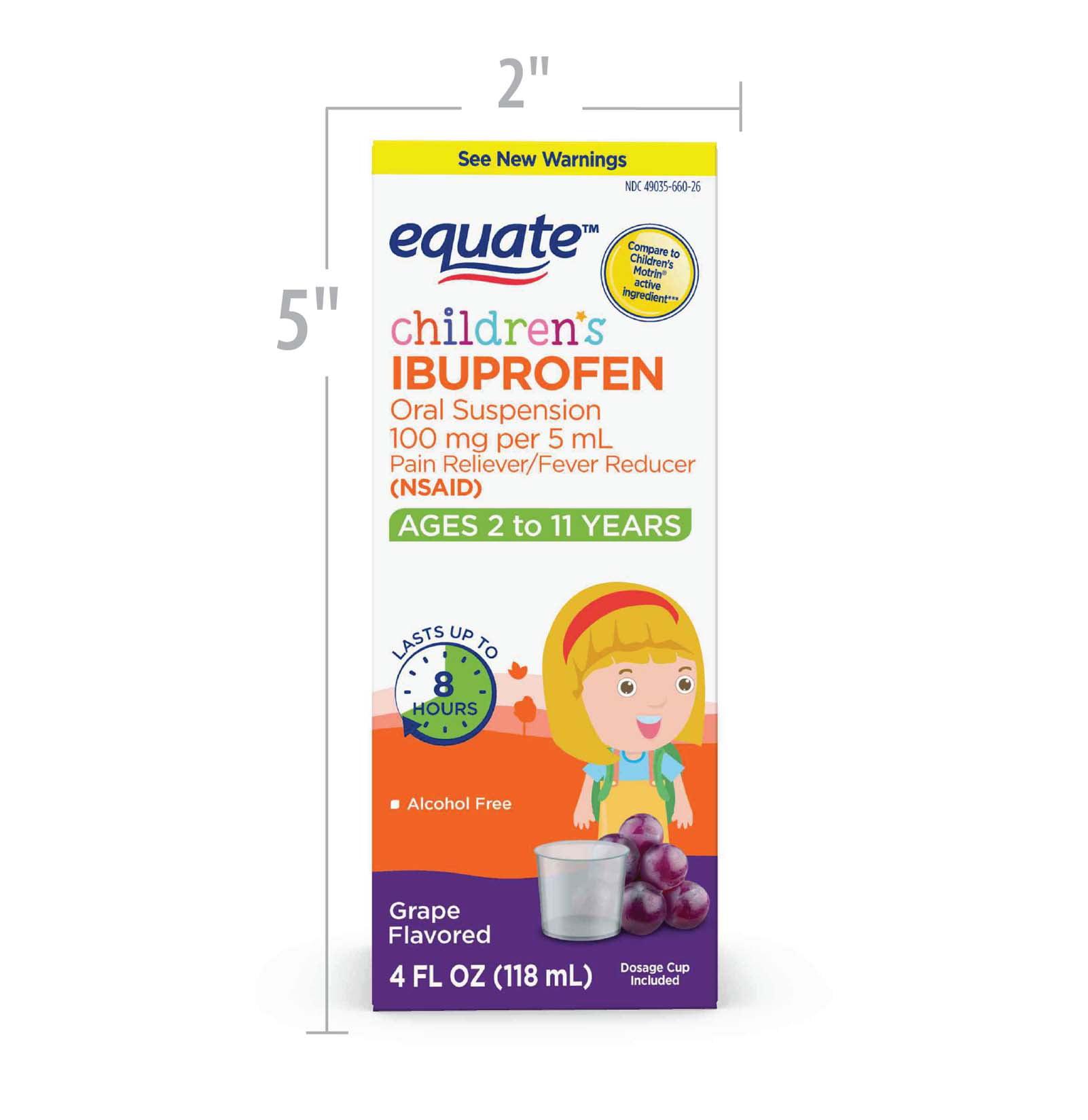 Equate Children's Ibuprofen Grape Suspension, 100 mg, 4 Oz
