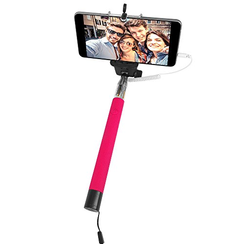CiCi Extendable Wireless Cable Control Self-portrait (No Bluetooth Matching and Charging Free)monopod Selfie Handheld Stick Pole with Mount Holder Specially Designed--Pink