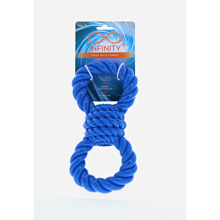 Infinity Toys TPR Chew and Tug Dog Rope Toy, Figure 8 Blue Super 8 Dog Tug