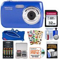 Vivitar ViviCam S126 Digital Camera (Blue) with 32GB Card + Batteries + Charger + Case + Kids Stickers Kit