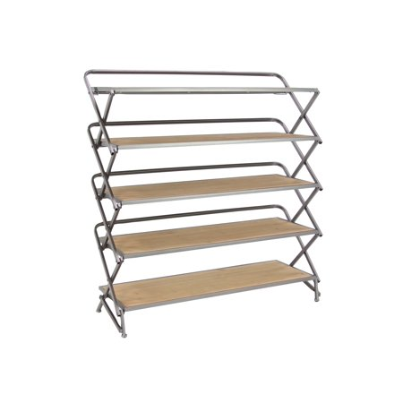 Decmode Contemporary 5-Tiered Metal and Wood Long Accordion Shelf, Gray ()