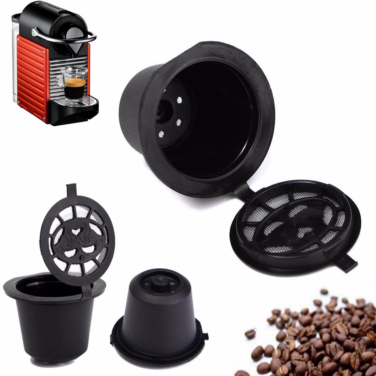 Reusable Nespresso Capsules, Refillable Pod Single Serve Coffee Filters for Nespresso Brewing Machines - 3 PACK