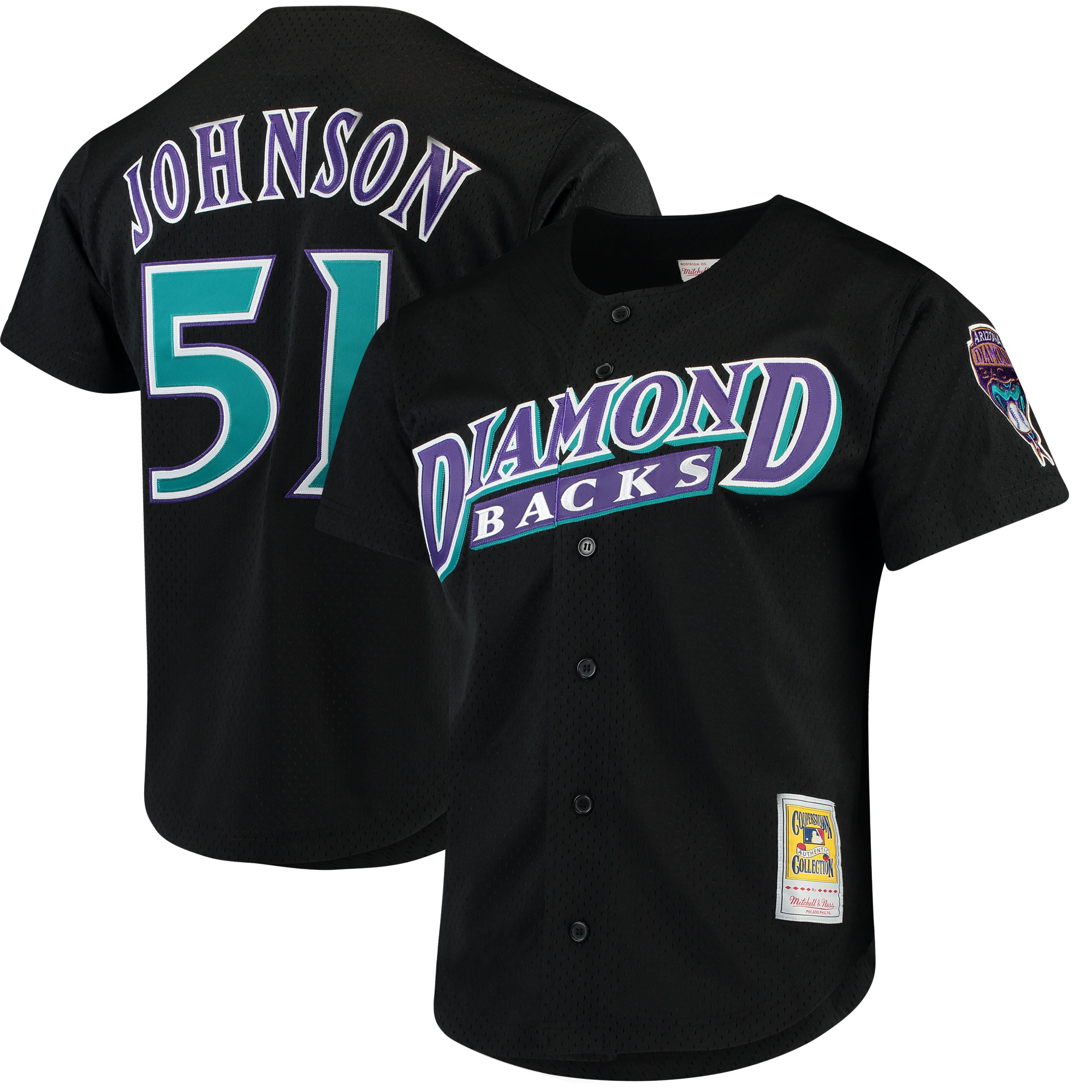 Men's Mitchell & Ness Randy Johnson Black Arizona Diamondbacks Fashion Cooperstown Collection Mesh Batting Practice Jersey
