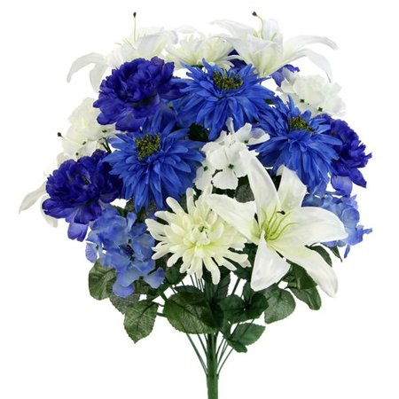Red Barrel Studio 24 Stems Faux Full Blooming Ranunculus, Lily, Hydrangea Flower Bush Mixed Floral Arrangement