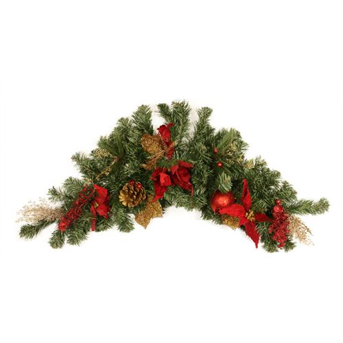 "36"" Pre-Decorated Pine, Red Poinsettia, Eucalyptus and Gold Pine Cone Artificial Christmas Swag - Unlit"