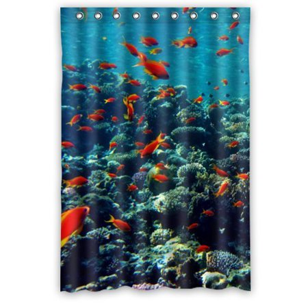 HelloDecor Sea Life Shower Curtain Polyester Fabric Bathroom Decorative Size 48x72 Inches
