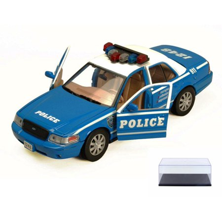 Diecast Car & Display Case Package - 2010 Ford Crown Victoria Police Car, Blue With White Roof - Showcasts 76482 - 1/24 Scale Diecast Model Car (Brand New, but NOT IN BOX) w/Display Case -  Motor Max