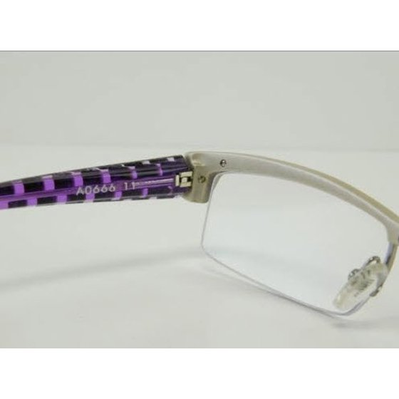 634141ed92fb9 New Alain Mikli A0666 11 Purple   Silver Semi Rimless Eyeglasses 54mm -  Walmart.com