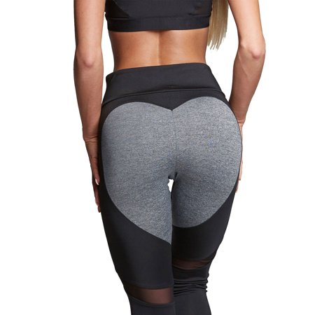 0d4c9e64786f15 Sexy Dance - Black Gray Yoga Pants for Women Fitness Crossfit Heart Hip  Push Up Leggings Running Gym Stretch Exercise Traning Pants Sports Trousers  ...