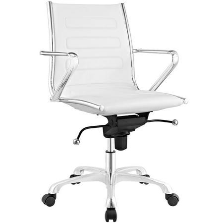Sensational Modern Contemporary Urban Design Work Home Office Mid Back Office Chair White Faux Leather Machost Co Dining Chair Design Ideas Machostcouk