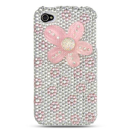 Fenncy Full Diamond Bling Hard Back Cover Case For Apple iPhone 4 / 4S - Sliver/Pink Flower 4s White Hard Case