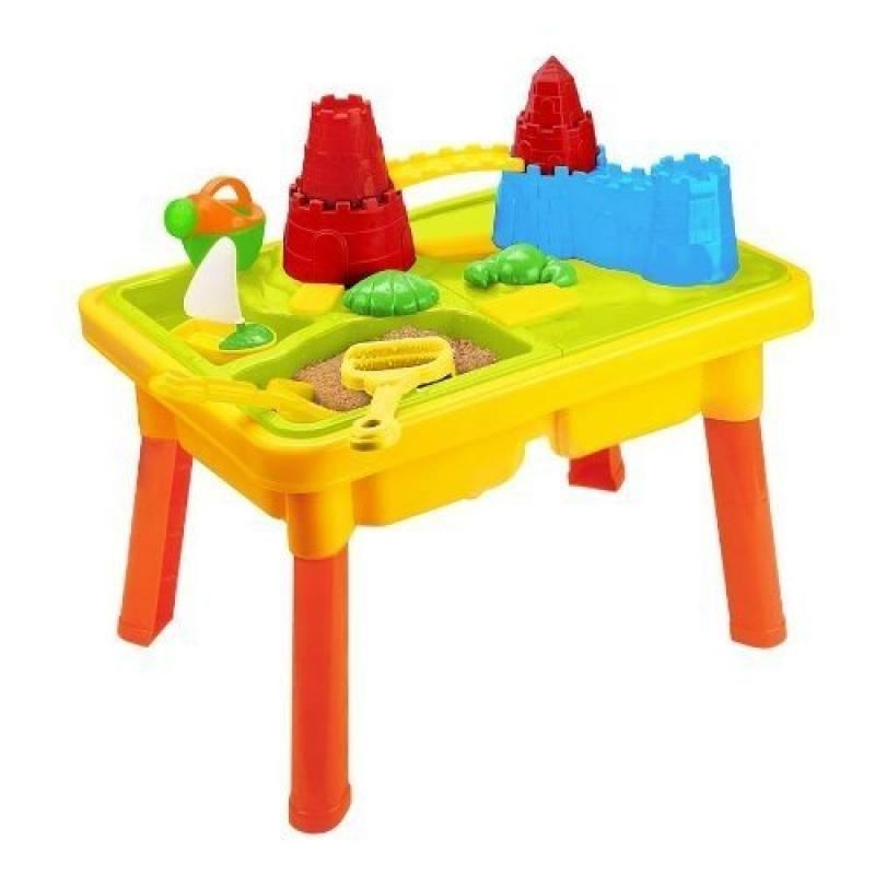 Sandbox Castle 2-in-1 Sand and Water Table with Beach Pla...