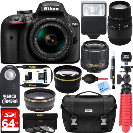 Nikon D3400 24.2 MP DSLR Camera + (18-55mm VR Nikon & 70-300mm SLD DG Sigma Lens Package, Black) + Bundle 64GB SDXC Memory + Photo Bag+Wide Angle Lens + 2x Telephoto+Flash + Remote + Tripod + Filters