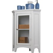 "GHP 23""x16""x32"" White MDF & Wood Decorative Glass Door & 2-Shelf Corner Storage Cabinet"