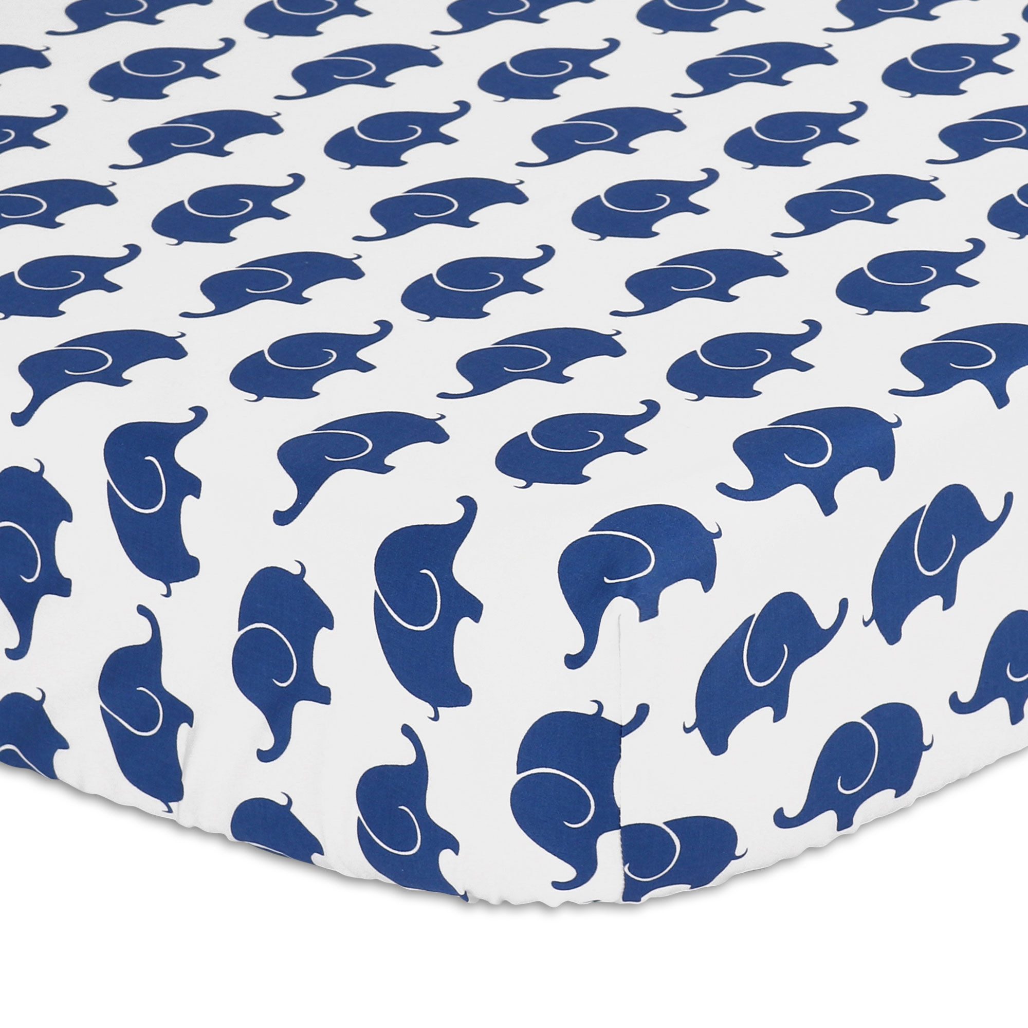 Navy Blue Elephant Fitted Crib Sheet by The Peanut Shell