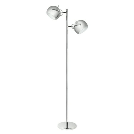 Globe Electric Miles 2-Light Adjustable Head Chrome Floor Lamp, 12807