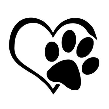Pet Paw Print With Heart Dog Cat Vinyl Decal Car Window Bumper Sticker ()