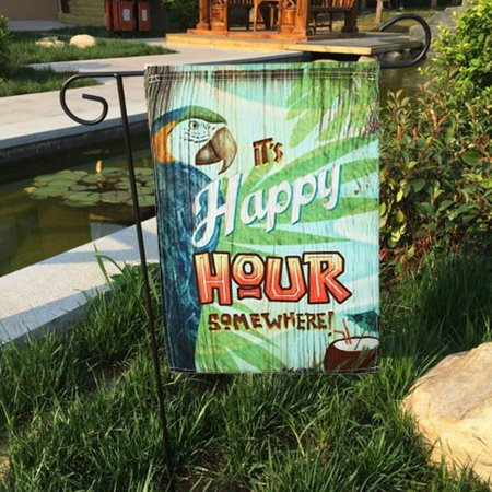 12X18'' Spring Parrot Happy Hour Garden Flag Mini Yard Banner Display Home Decor