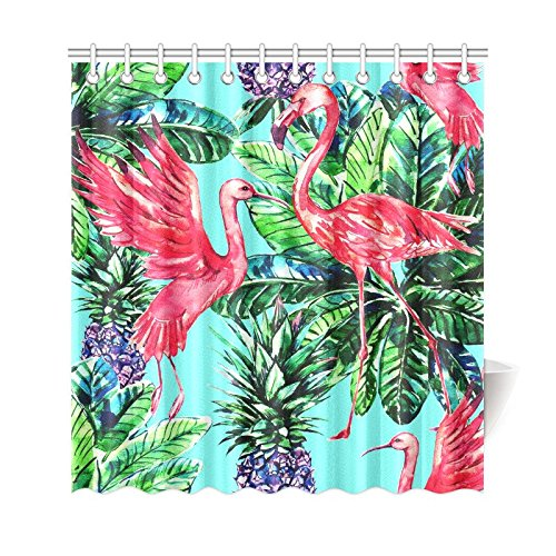 GCKG Pink Flamingo Bird Palm Leaves Shower Curtain, Tropical Fruits Pineapples Polyester Fabric Shower Curtain Bathroom Sets with Hooks 66x72 Inches - image 3 de 3