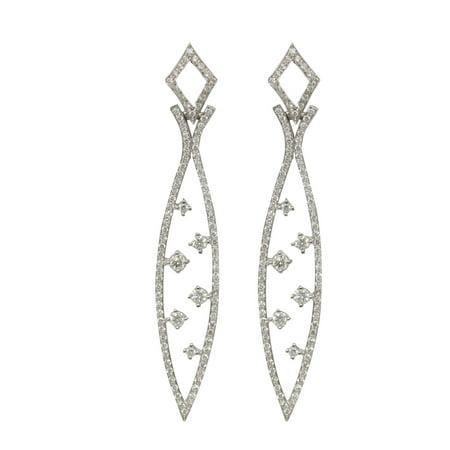 18k White Gold Round Diamond Multi-Stone Stone Prong Setting Shoulder La Pousette Earrings(1.6 ct, G, VS)