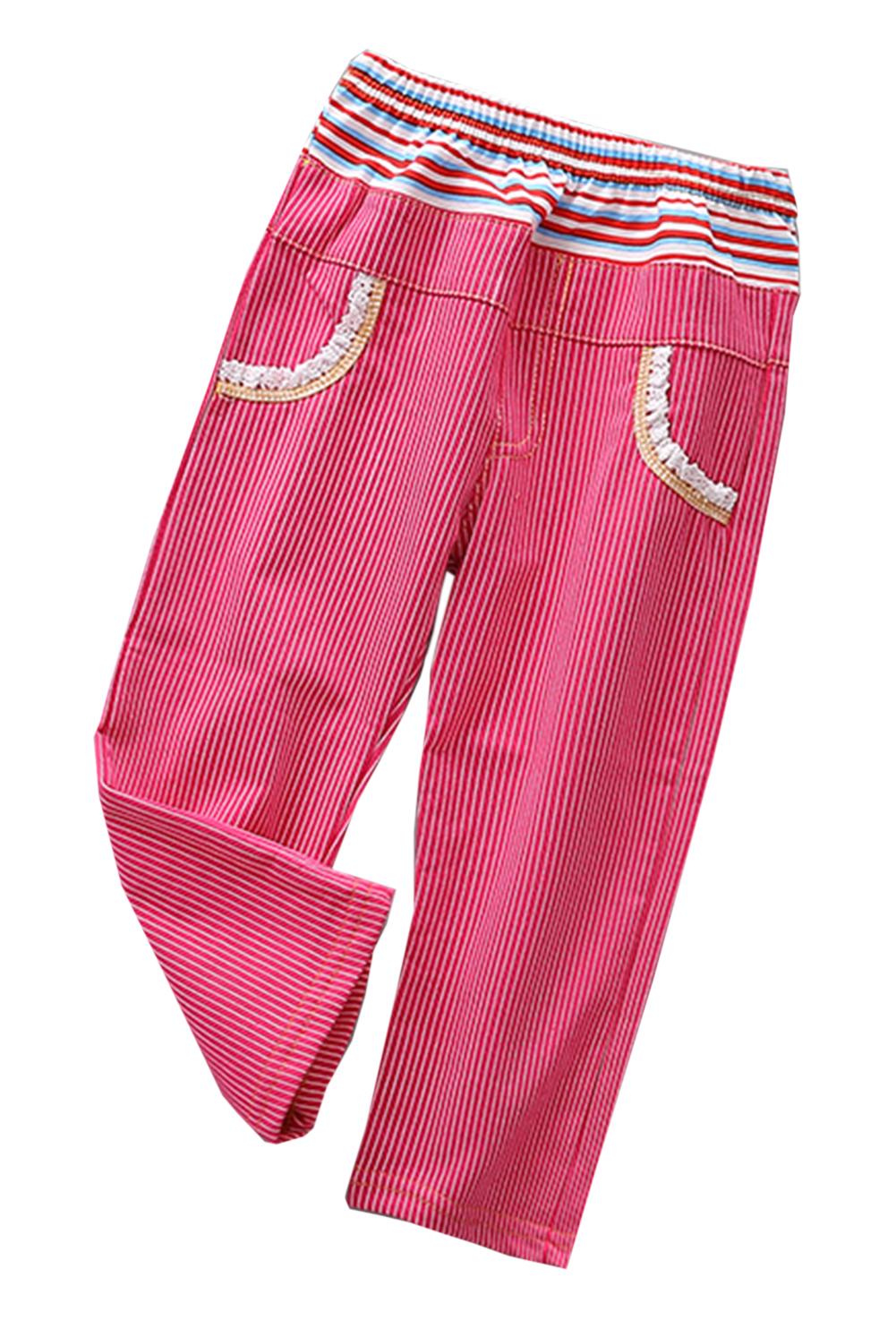 StylesILove Little Girl Long Stripe Elastic Waist Casual Pants - 4 Colors (120/5-6 Years, Yellow+Black)