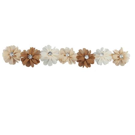 Lux Accessories Ivory Peach and Brown Chiffon Flower Crown Headwrap - Chiffon Headwrap
