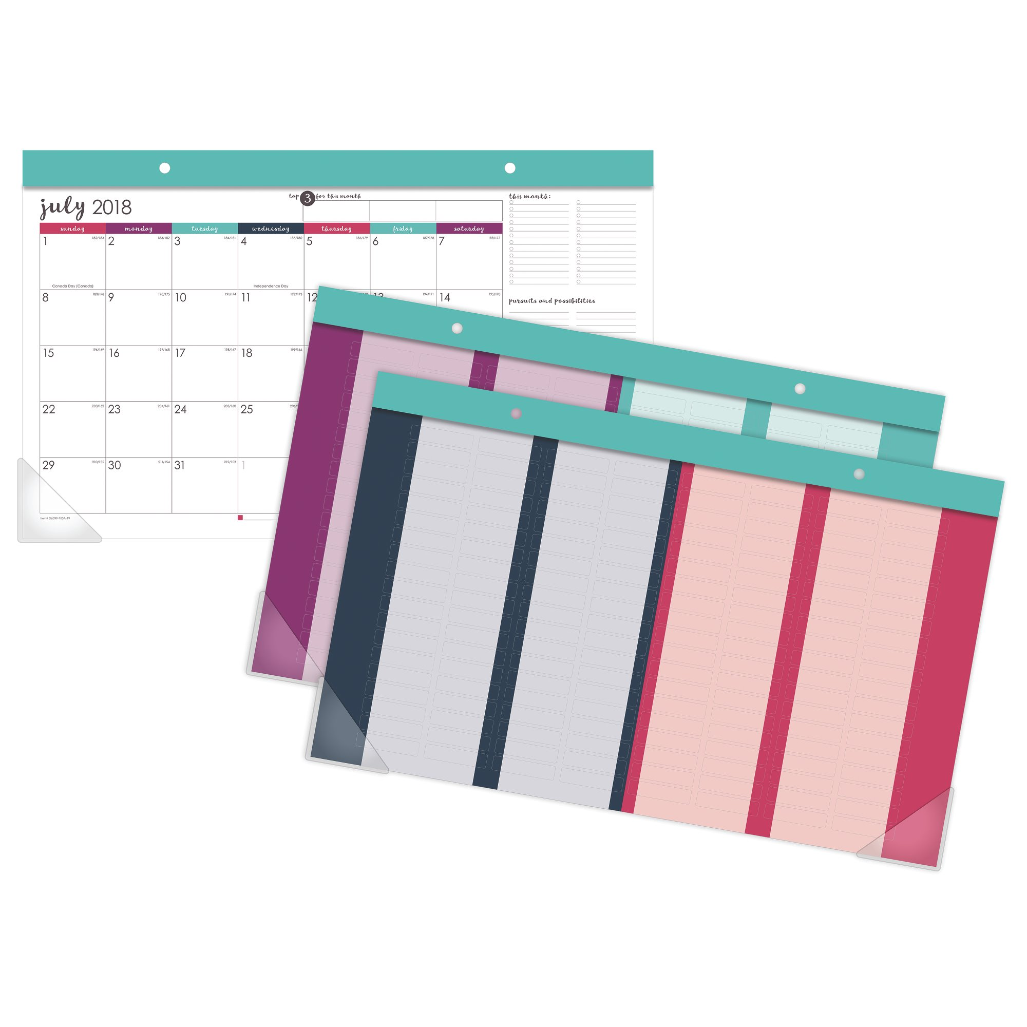 At-A-Glance Harmony Compact Desk Pad with Repositionable Stickers - Calendars