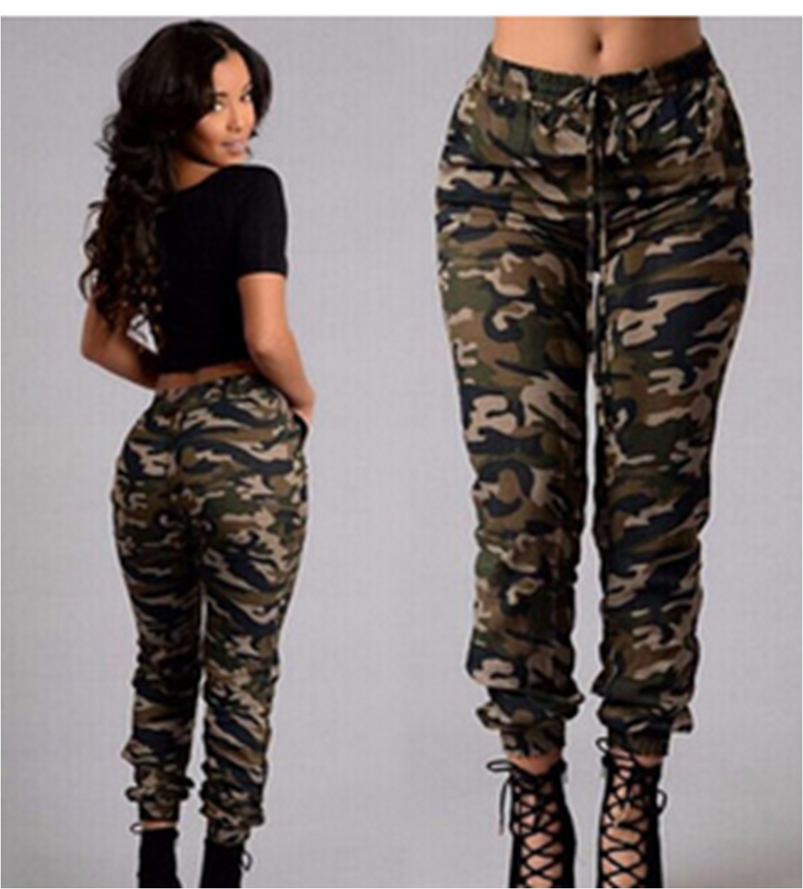 Ladies Women/'s Camouflage Military Outdoor Joggers High Waist Casual Army Pants